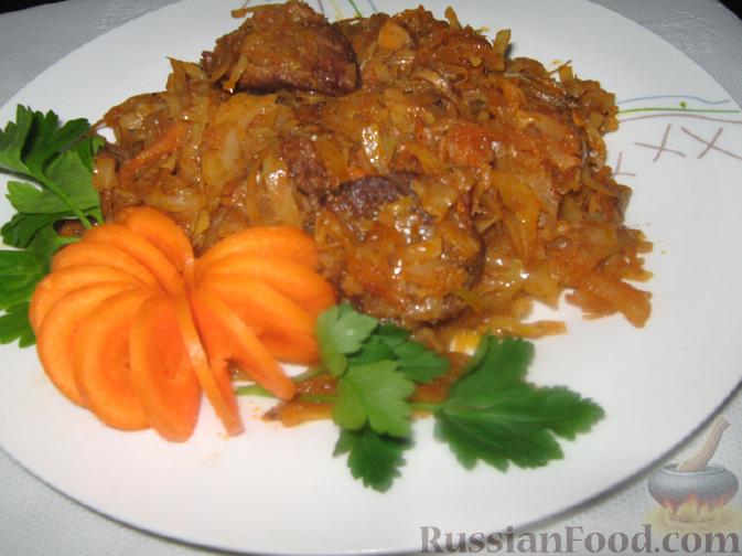 тушеная капуста с грибами и мясом рецепт с фото