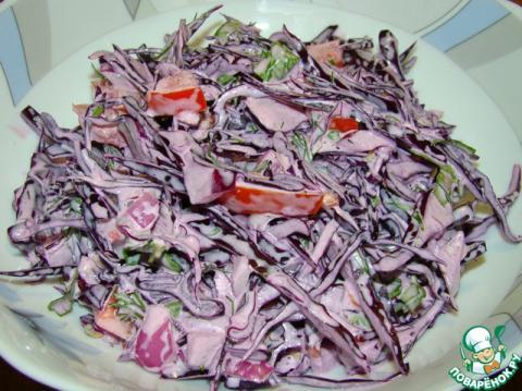 Салат из краснокочанной капусты с сахарной пудрой
